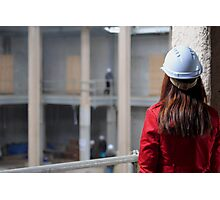 Construction Site-Lady In Red  Photographic Print