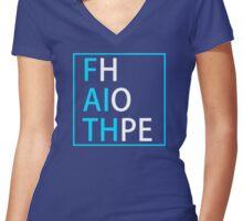 FAITH and HOPE (light blue, white) - LDStreetwear Women's Fitted V-Neck T-Shirt
