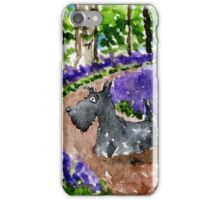 Scottie Dog in Bluebell Woods watercolour iPhone Case/Skin