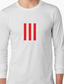 Red and white stripes - Pixel Field Series design Long Sleeve T-Shirt