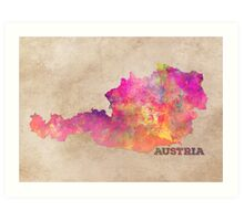 Austria map Art Print