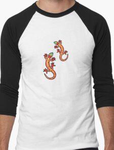 Zwei Geckos bunt Men's Baseball ¾ T-Shirt