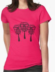 team party freunde kopf gesicht nerd geek hornbrille pickel spange freak schlau untoter monster halloween horror comic cartoon zombie  Womens Fitted T-Shirt