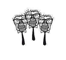 team party freunde kopf gesicht nerd geek hornbrille pickel spange freak schlau untoter monster halloween horror comic cartoon zombie  Photographic Print