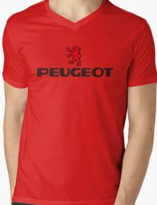 PEUGEOT RED Mens V-Neck T-Shirt