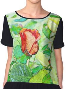 Delightful red rose in a garden Chiffon Top
