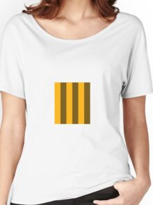Yellow and Brown stripes - Pixel Field Series design Women's Relaxed Fit T-Shirt
