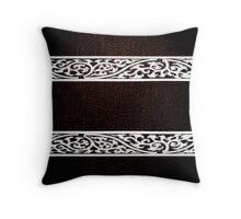 Dark Brown Leather Damask Border Throw Pillow