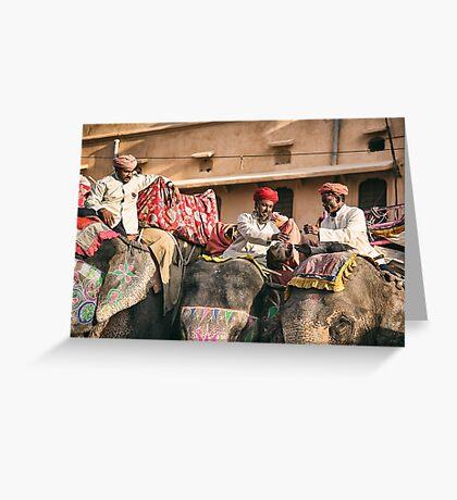 Elephant Chai Time - Rajasthan, India Greeting Card