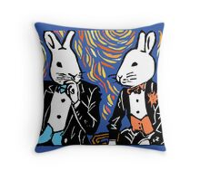 SPLIT HARES (colored) Throw Pillow