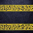 Black Leather Yellow Damask Border by Nhan Ngo