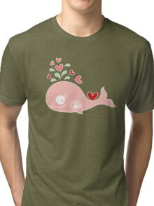 Whimsical Pink Pregnant Mommy Whale Tri-blend T-Shirt