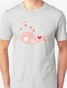 Whimsical Pink Pregnant Mommy Whale Unisex T-Shirt