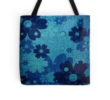 Blue floral leather texture background Tote Bag
