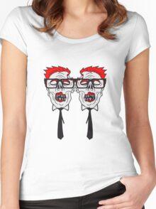 team 2 freunde paar krawatte nerd geek streber freak hornbrille pickel spange zombie lustig gesicht kopf untot horror monster halloween  Women's Fitted Scoop T-Shirt