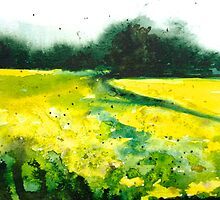 Nutfield, watercolour landscape painting by Emily King