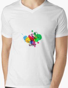 Otter Mug Paint (White) Mens V-Neck T-Shirt
