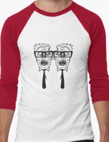 team 2 freunde paar krawatte nerd geek streber freak hornbrille pickel spange zombie lustig gesicht kopf untot horror monster halloween  Men's Baseball ¾ T-Shirt