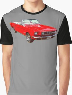 1965 Red Ford Mustang Convertible Graphic T-Shirt