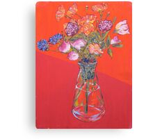 Flowers with oil Canvas Print