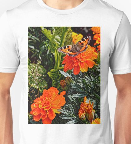 The Small Tortoiseshell Butterfly on a Marigold Unisex T-Shirt