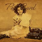 Postcard - Vintage girl with typewriter by © Kira Bodensted