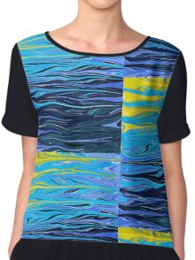 Deep Blue Abstract Reflective Water Chiffon Top