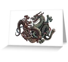 Dragons Fighting in Rings Greeting Card