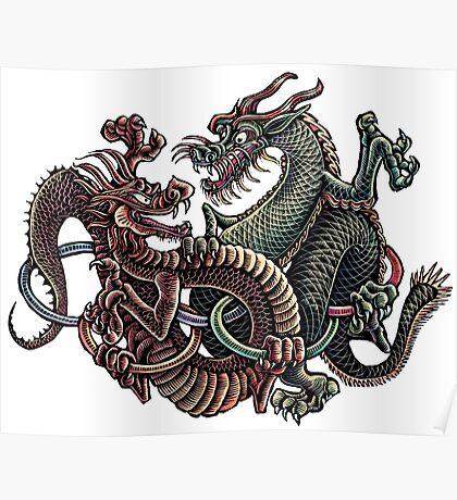 Dragons Fighting in Rings Poster