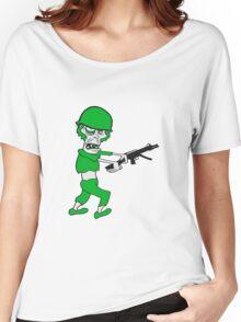 soldat maschinengewehr militär army krieg zombie laufen gehen hässlich comic cartoon lustig horror halloween  Women's Relaxed Fit T-Shirt