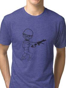 soldat maschinengewehr militär army krieg zombie laufen gehen hässlich comic cartoon lustig horror halloween  Tri-blend T-Shirt