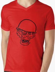 soldat helm militär army krieg zombie laufen gehen hässlich comic cartoon lustig horror halloween  Mens V-Neck T-Shirt