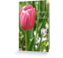 Birthday Card - Pink Tulips Greeting Card