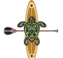 Green Tribal Turtle Stand-Up Wave Runner by Susan R. Wacker