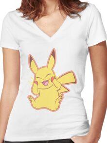 Pika Pikaa!! Women's Fitted V-Neck T-Shirt