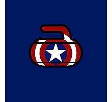 Captain America Shield Rock - Curling Rockers Photographic Print