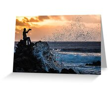 Reel Surf Fishing - Easter Island, Chile Greeting Card