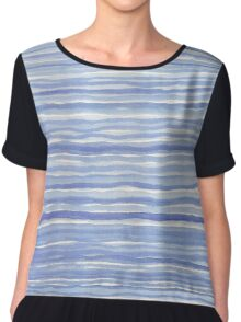 Blue Watercolor Hand Drawn Stripes Modern Abstract Pattern Chiffon Top