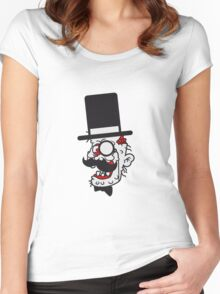 sir herr zylinder gesicht kopf anzug hut mustache schnurrbart alter mann zombie cool ekelig laufen horror monster halloween comic cartoon  Women's Fitted Scoop T-Shirt
