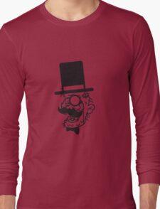 sir herr zylinder gesicht kopf anzug hut mustache schnurrbart alter mann zombie cool ekelig laufen horror monster halloween comic cartoon  Long Sleeve T-Shirt