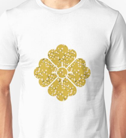 Japanese White Cherry Blossom Branches on Gold Unisex T-Shirt