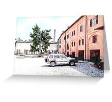 Brisighella: courtyard and building with pink facade Greeting Card
