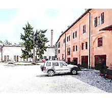 Brisighella: courtyard and building with pink facade Photographic Print