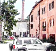 Brisighella: courtyard and building with pink facade Sticker