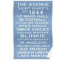 Saint Mary's College Subway Sign Art White on Blue Poster