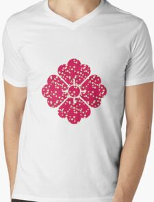 Japanese White Cherry Blossom Branches on Red Mens V-Neck T-Shirt