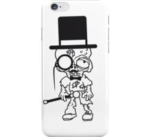 sir herr gentlemen zylinder hut monokel brille mann stock fliege anzug mustache schnurrbart zombie lustig untot horror monster halloween  iPhone Case/Skin