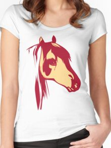 Red Horse Vintage Design Women's Fitted Scoop T-Shirt