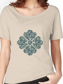 Japanese White Cherry Blossom Branches on Slate Blue Women's Relaxed Fit T-Shirt