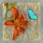 Afternoon in Tuscany, orange day lily aqua butterfly by Glimmersmith